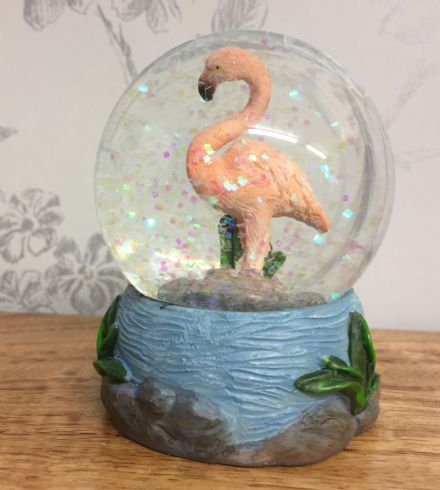 Pink Flamingo Glitter Snow Globe Waterball with Blue Tropical Base ~ B